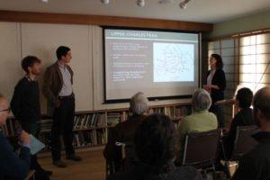 Jordan, Russell, and Jillian present their work on a multimodal trail plan for Hopkinton, Massachusetts.