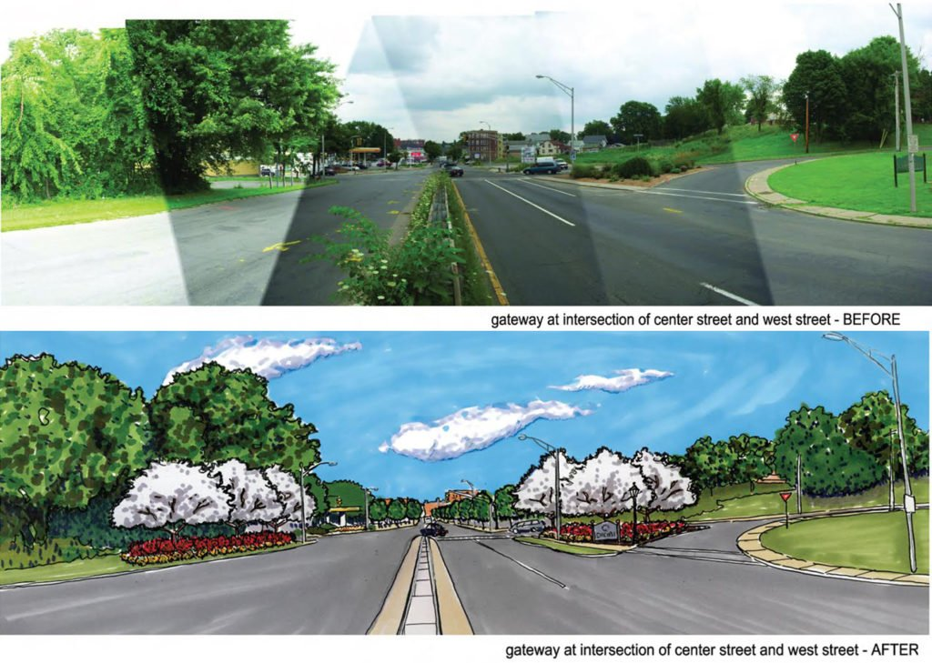 A rendering of the possible transformation for the intersection at an entrance of Highway 391 near downtown Chicopee.