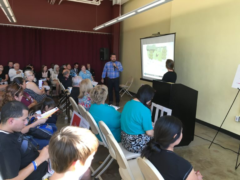 Team 2 presented the final design to a well-attended super neighborhood meeting. After the presentation, designers and an OAH board member fielded questions from community members to explain design decisions and the process of community involvement throughout the design phase.