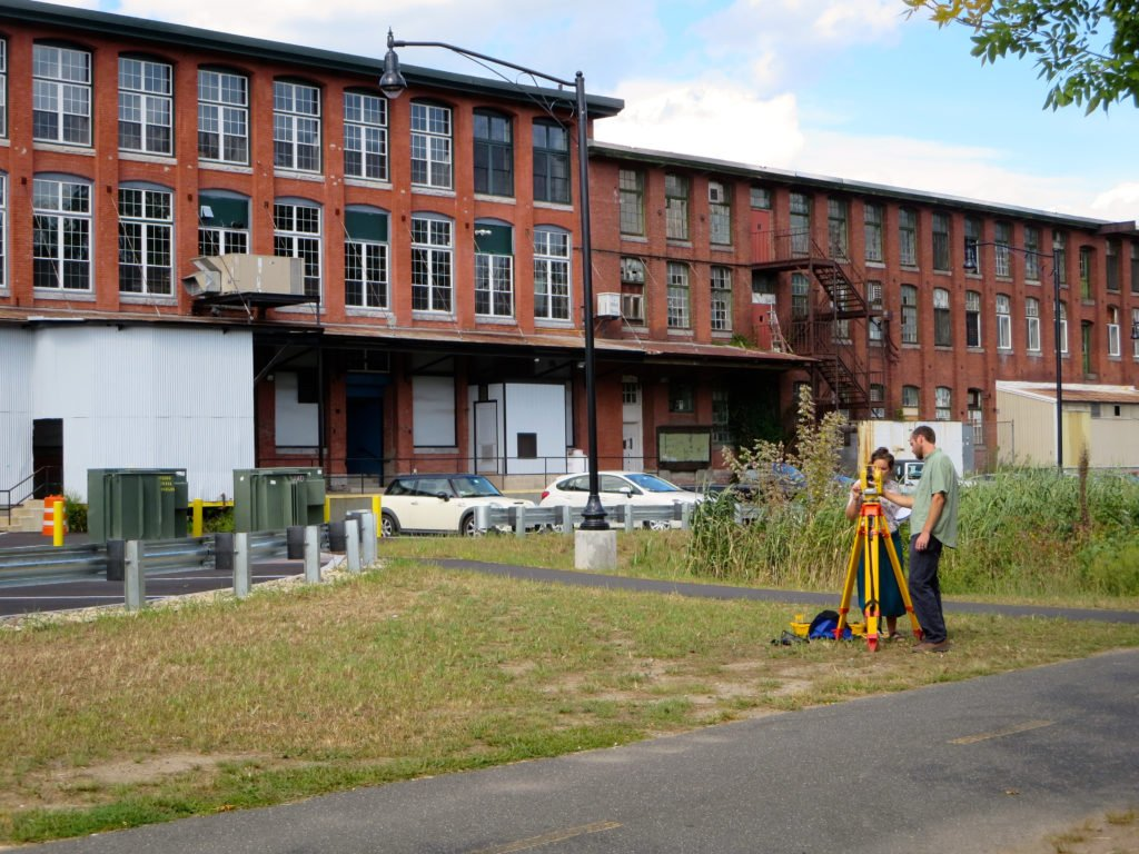 Bas Gutwein from Regenerative Design Group taught surveying class in the park behind Mill 180.