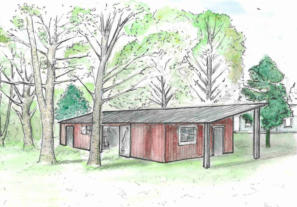 A perspective drawing with watercolor illustrates recommended renovations to the barn. Photo by Faren Worthington & Oliver Osnoss