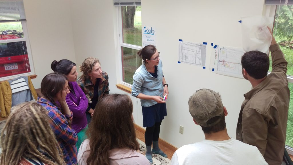 NCI staff and students practiced ecological design in a workshop held at the Blue House. Photo credit: Joshua Porter